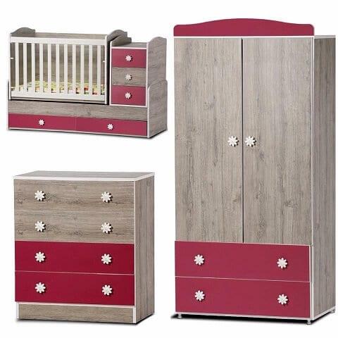 Dizain Baby Ολοκληρωμένο Σετ Παιδικό Δωμάτιο NORTH OAK/CYCLAMEN
